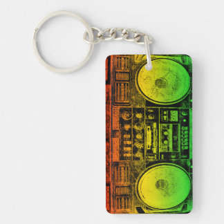 Rasta Ghetto Blaster Double-Sided Rectangular Acrylic Key Ring