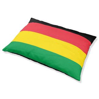 Rasta Green Yellow Red Black Stripes Pattern Pet Bed