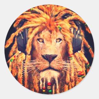 Rasta Lion Classic Round Sticker