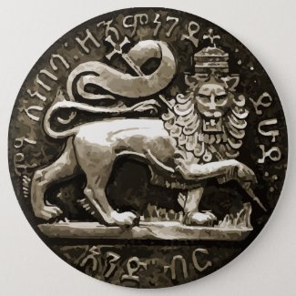 Rasta Lion of Judah Ancient Design on Button