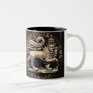 Rasta Lion of Judah Ancient Design Two-Tone Coffee Mug