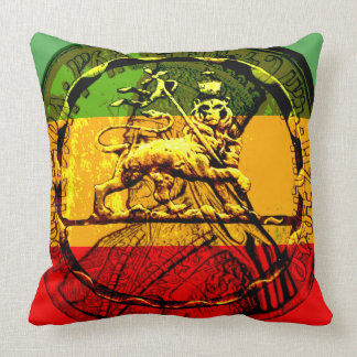 Rasta Lion of Judah Red Gold Green Cushion
