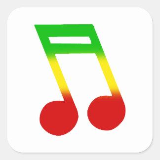 Rasta Music Note Square Sticker
