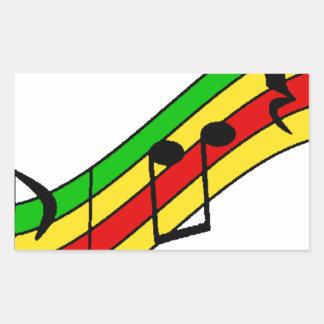 Rasta Music Staff Rectangular Sticker