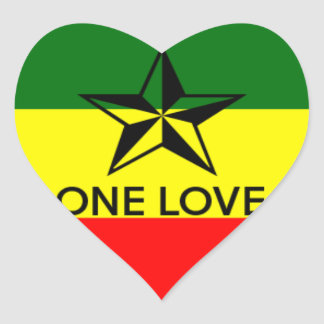 Rasta One Love Heart Shaped Sticker