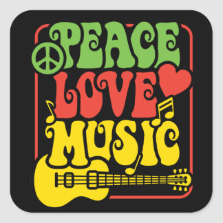 Rasta Peace Love Music Square Sticker