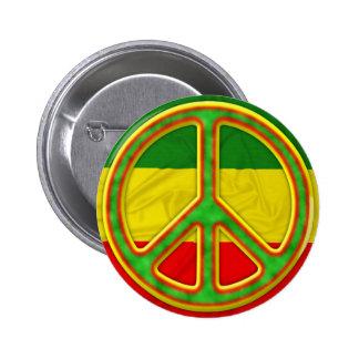 Rasta Peace Symbol 6 Cm Round Badge