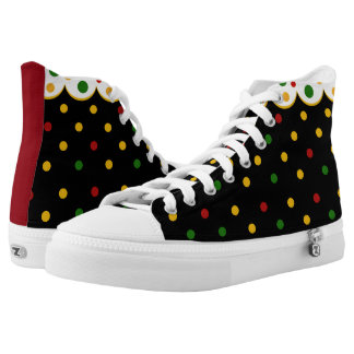 Rasta Polka Dot Ladys ZipZ Tennis Shoes Printed Shoes