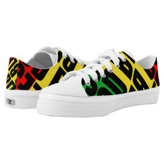 Rasta Red Green Gold God Bless Shoe Printed Shoes
