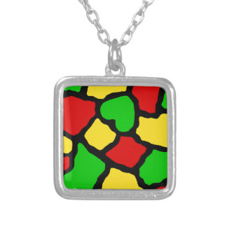 Rasta Spots Square Pendant Necklace