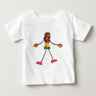Rasta Stick Figure with Gold Peace Sign Baby T-Shirt