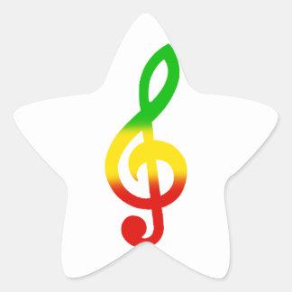 Rasta Treble Clef Star Sticker