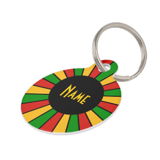 RASTAFARI FLAG BUTTON RAYS + your sign or text Pet Name Tag