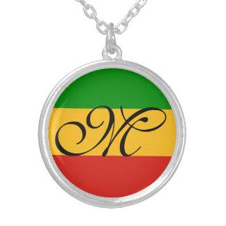 RASTAFARI FLAG COLORS + your ideas Silver Plated Necklace