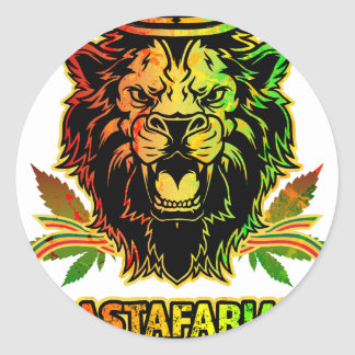 Rastafarian King Lion Round Sticker