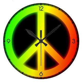 Rastafarian Peace Sign Large Clock