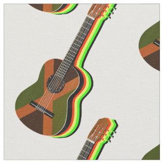Rastafarian Reggae Guitar Jamaican Flag Fabric