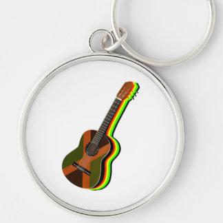 Rastafarian Reggae Guitar Jamaican Flag Silver-Colored Round Key Ring
