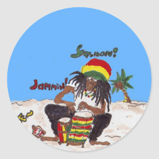 rastaman coaster classic round sticker