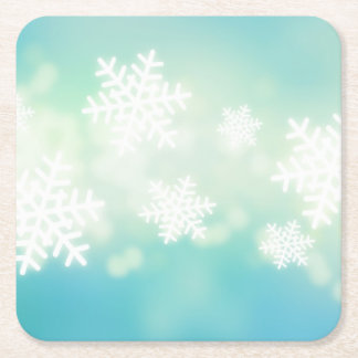Raster illustration of glowing snowflakes square paper coaster