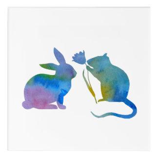 Rat and rabbit acrylic wall art