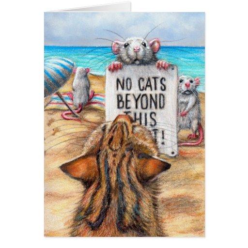 Rat Cat Beach 'No Cats' Sign Greeting Card
