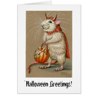 Rat Devil, Halloween Greetings! Card