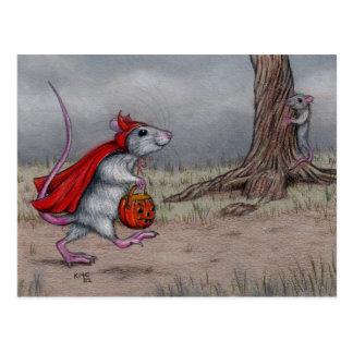 Rat devil halloween walking postcard