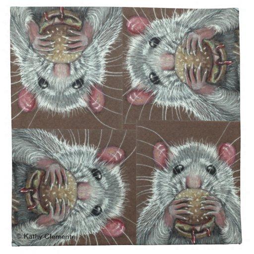 Rat eating hamburger napkins