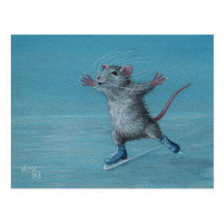 Rat Ice Skating blue skates postcard