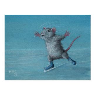 Rat Ice Skating blue skates postcard