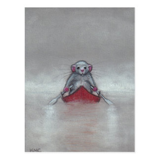 Rat in Boat in Fog Postcard