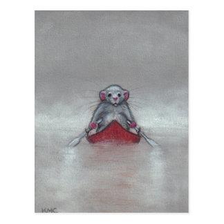 Rat in Boat in Fog Postcard
