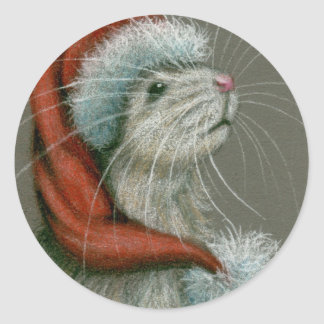 Rat in Santa St Nick Hat Christmas Stickers