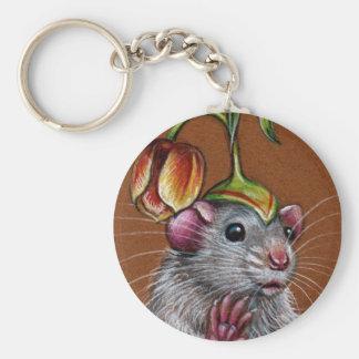 Rat in silly tulip hat keychain