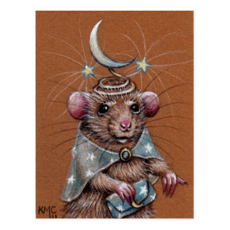 Rat in Wrap, Purse and Hat Postcard