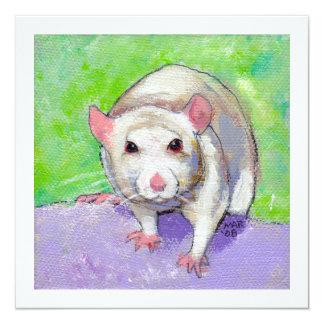 "Rat lover art fun colorful pet listenin white rats 5.25"" square invitation card"