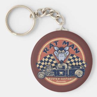 Rat Man Rusted Customs Basic Round Button Key Ring