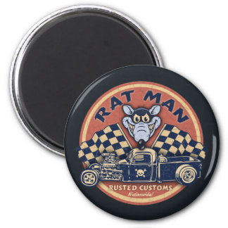Rat Man Rusted Customs Magnet