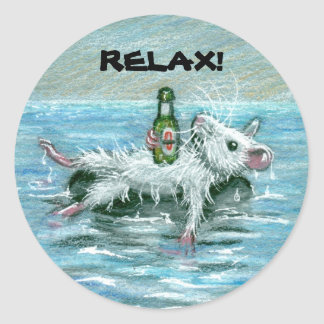Rat on Tube RELAX Round Sticker