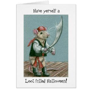 Rat Pirate Halloween Greeting Card
