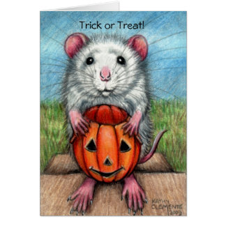 Rat Pumpkin Halloween Card, Trick or Treat! Card