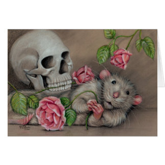 Rat Rose Skull Note Card