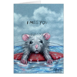 Rat Sad Surfer, I Miss You Note Card
