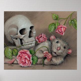 Rat Skull Roses poster