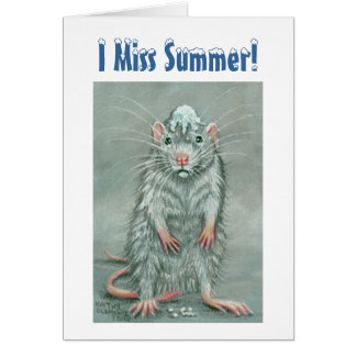 Rat Snowball on Head, I Miss Summer! Note Card