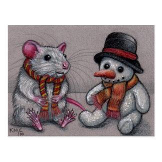Rat Snowman in scarf Postcard