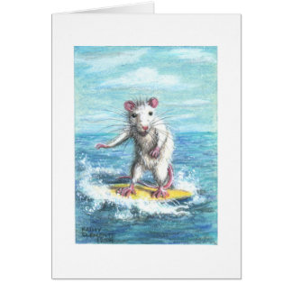 Rat surfer note card