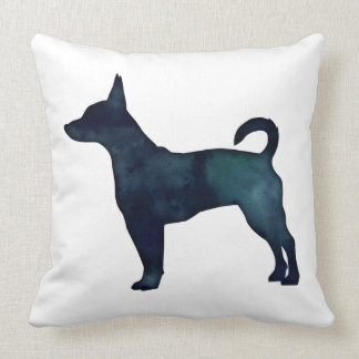 Rat Terrier Black Watercolor Silhouette Throw Pillow