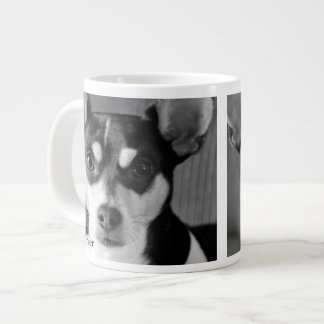 Rat Terrier, Black & White, Large Coffee Mug